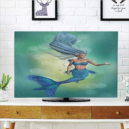 Cubierta de Polvo para televisor LCD, decoración de Sirena, Silueta Cantando en la Noche, decoración mítica de Luna Completa, diseño de impresión 3D Compatible con TV de 32 Pulgadas: Amazon.es: Hogar