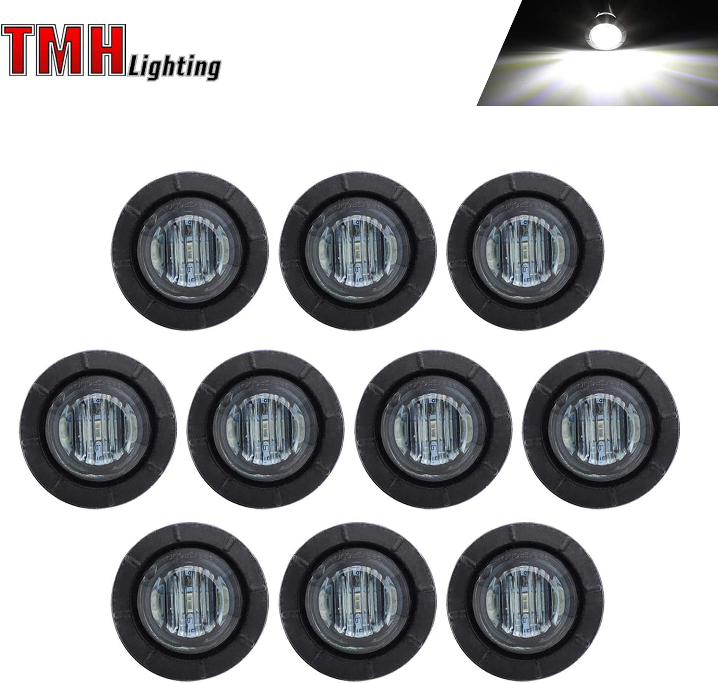 "10 Pcs TMH 3/4"" Inch Mount SMOKED LENS & White LED Clearance Markers, side marker lights, led marker lights, led side marker lights, led trailer marker lights, trailer marker light 711B2Bat95KL"