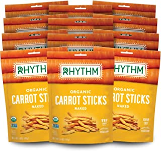 product image for RHYTHM SUPERFOODS, CARROT STICKS, OG2, NAKED, Pack of 12, Size 1.4 OZ - No Artificial Ingredients Gluten Free Kosher Vegan 95%+ Organic