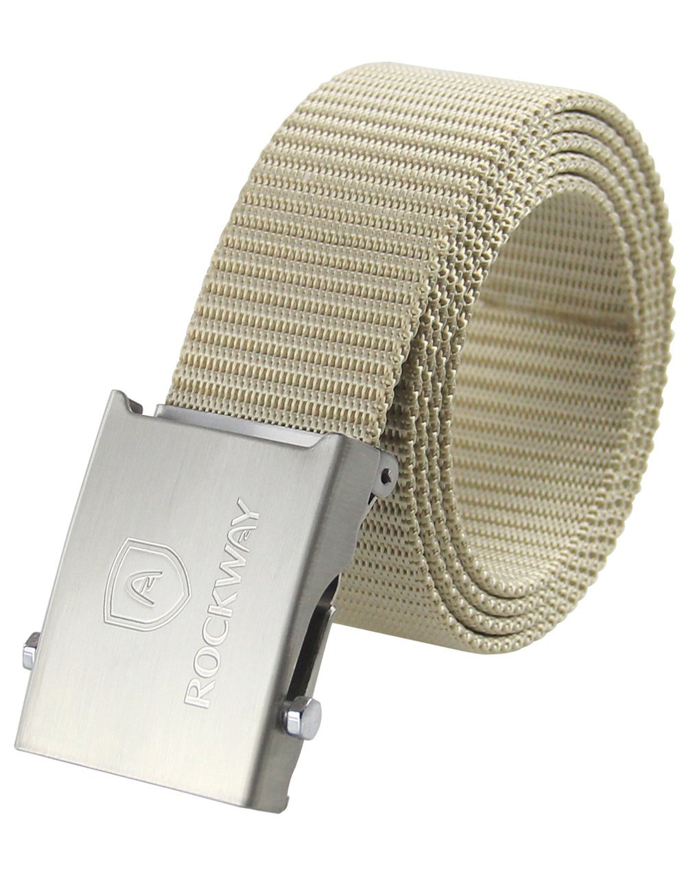 RockWay Hard Nylon with Stainless Steel Buckle Automatic Belt for Hunting (Khaki) (X-large/135cm)