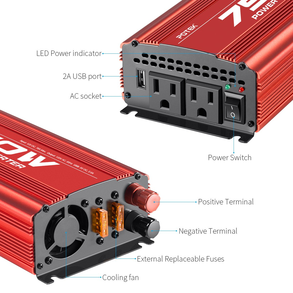 POTEK 500W Car Power Inverter DC 12V to AC 110V with 2 AC outlets and 2A USB Port