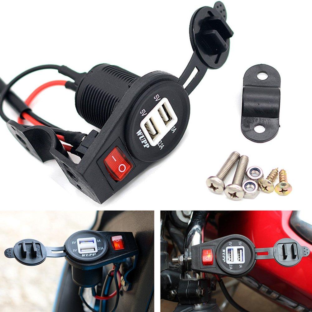 Prise secteur ETbotu avec double port USB et interrupteur - 3, 1 A - Chargeur de chargement rapide pour moto de 12 V-24 V 1A - Chargeur de chargement rapide pour moto de 12V-24V
