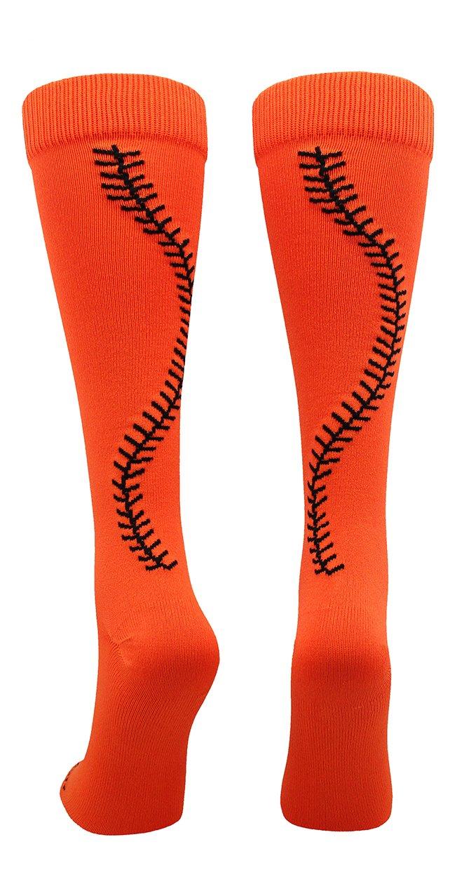 MadSportsStuff Softball Socks with Stitches Over The Calf (Orange/Black, Small)