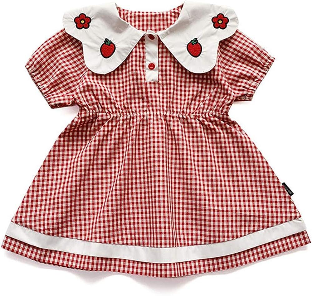 Chickwin Vestido para Niñas Verano 3-7 Años, Enrejado Conjunto Infantil Niña 100% Algodón Ropa Bebé Recién Nacido Infantil Casual Manga Corta Vestidos Bebe Niña Ceremonia Regalo