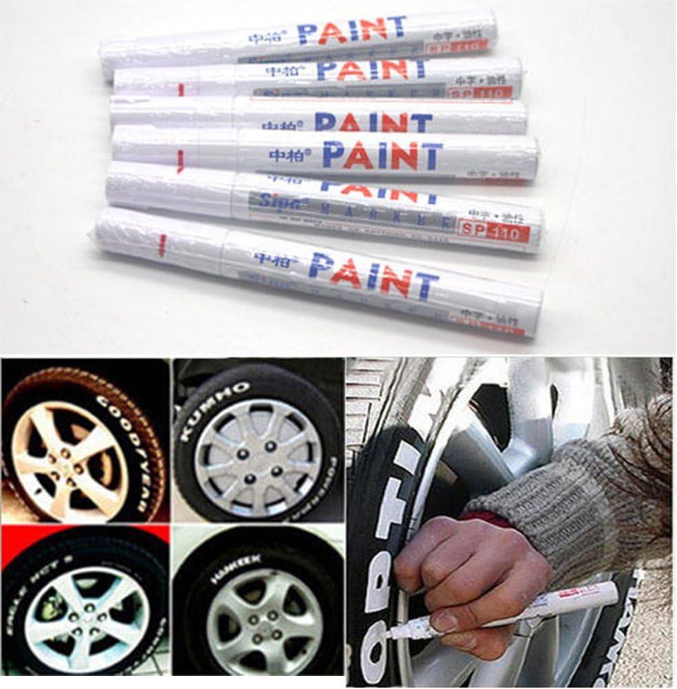 Emotree 6 X Weiß Reifenmarkierstift Reifenmarker Reifenmarkierungsstift Auto Motorrad Kfz Reifen Stift Auto