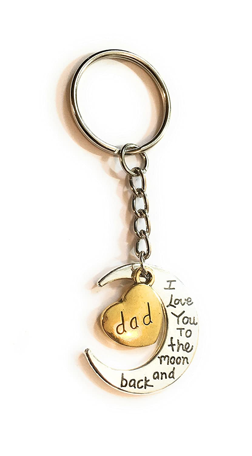 FizzyButton Gifts Dad I love you to the moon and back gold and silver tone keyring or bag tag