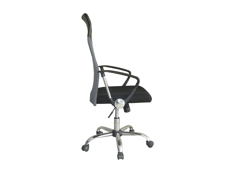 Noir Argent CHAIRMART Chaise de Bureau en Maille Filet avec Dossier Haut 61 x 61 x 110cm~120cm