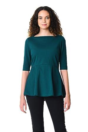 f4d811192ec eShakti Women s Cotton knit peplum top UK Size 04   Regular height Peacock  blue