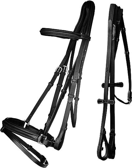 New Dressage Leather Horse Bridle Patent Leather Crank Noseband