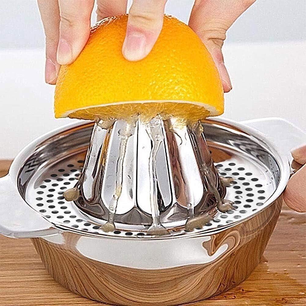 Manual Juicer Stainless Steel Juice Orange Lime Lemon Fruit Squeezer Maker Strainer with Bowl Handle Pour Spout for Home Bar Kitchen