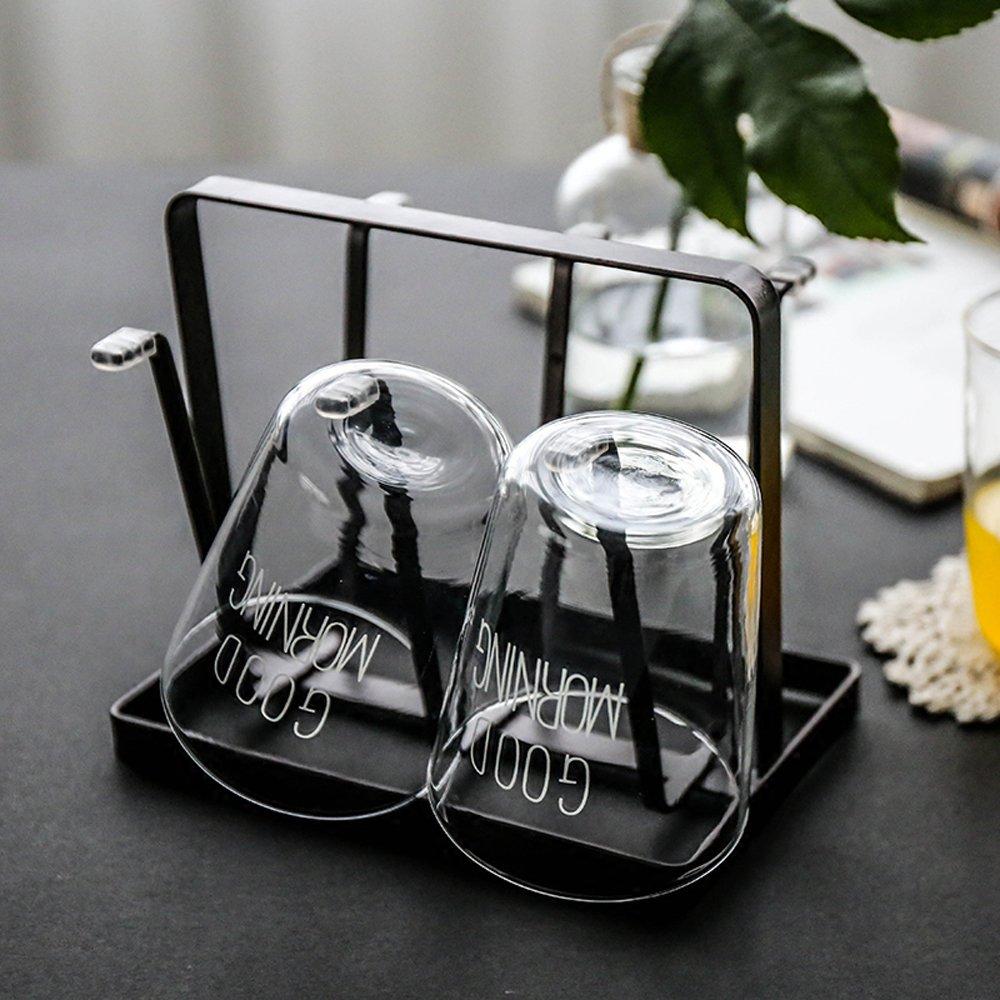 Nadalan Cup Rack Holder 6 Slots Drain Cup Holder Shelf Glass Mug Rack Shelf (Black)