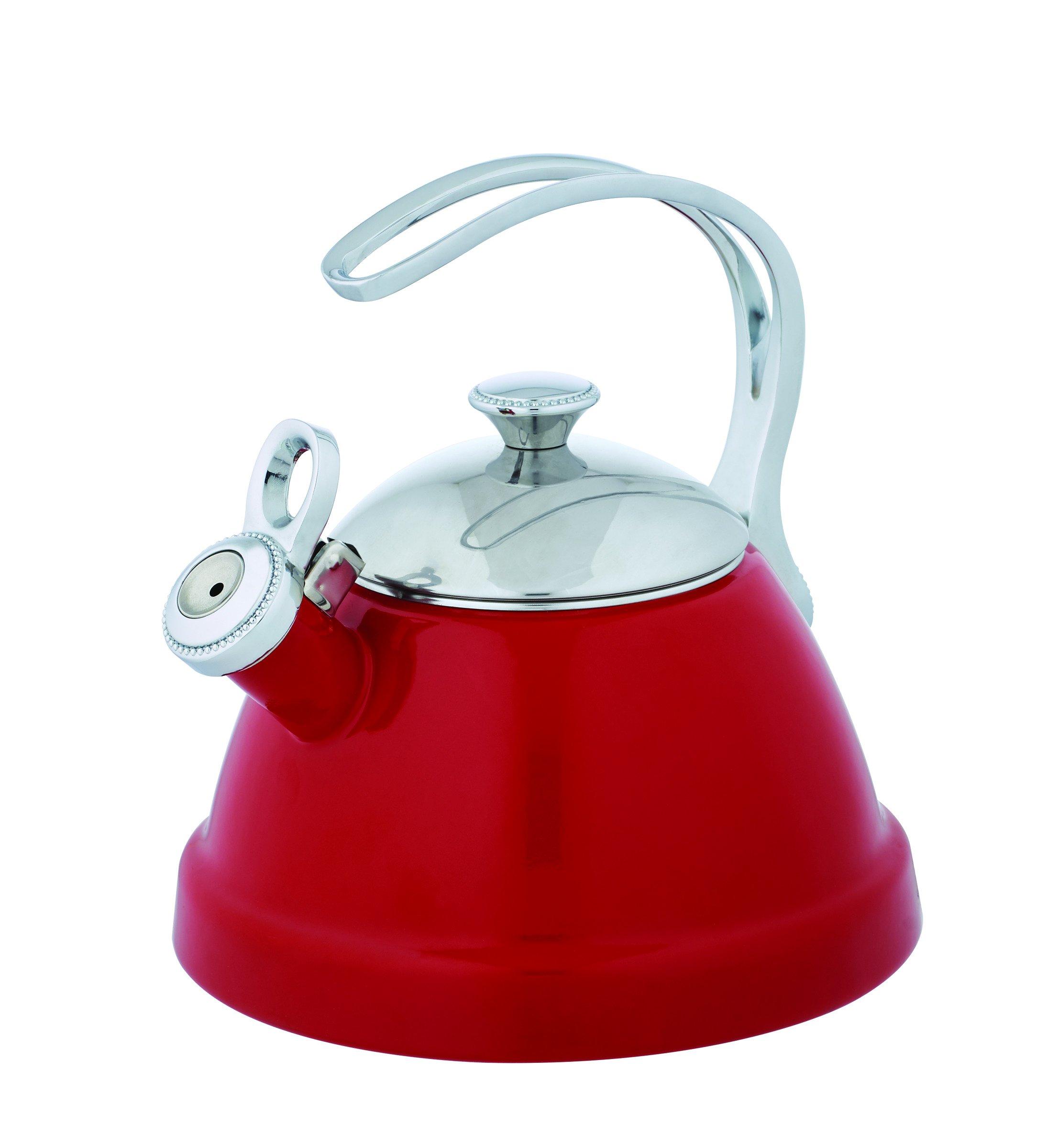 Copco 5213771 Beaded Enamel-on-Steel Tea Kettle, 2-Quart, Red