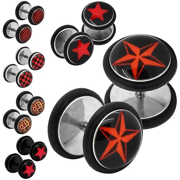 Tapones para ocultar agujeros, varios diseños (de acero inoxidable con anillo de goma, 2 unidades) 10mm orangerstern: Amazon.es: Joyería