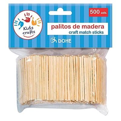 Dohe- 18106-Pack de 500 palitos de Madera, Color Natural (18106): Oficina y papelería