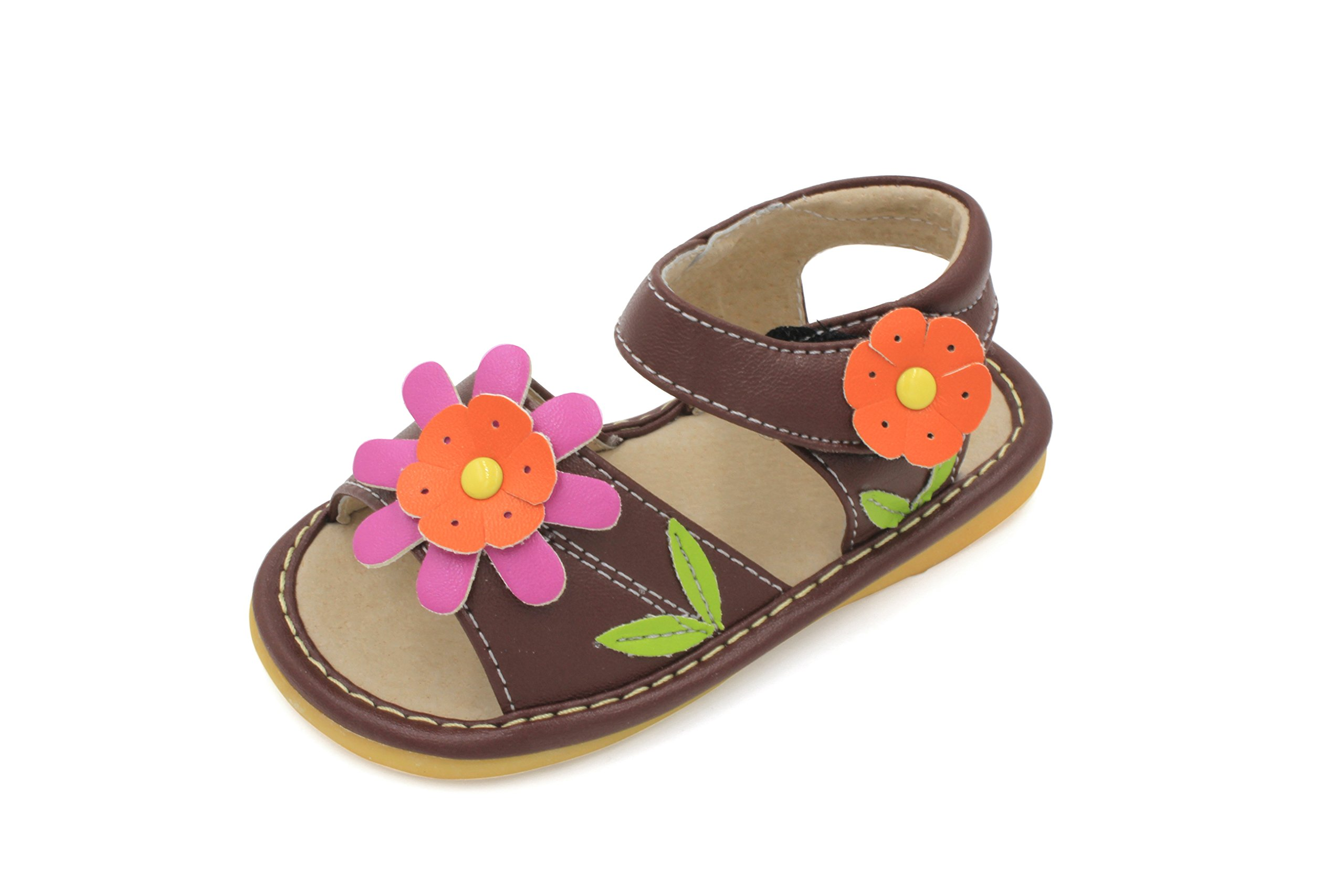 Little Mae's Boutique Brown with Pink Flower Squeaky Girl Sandals Shoes (7)