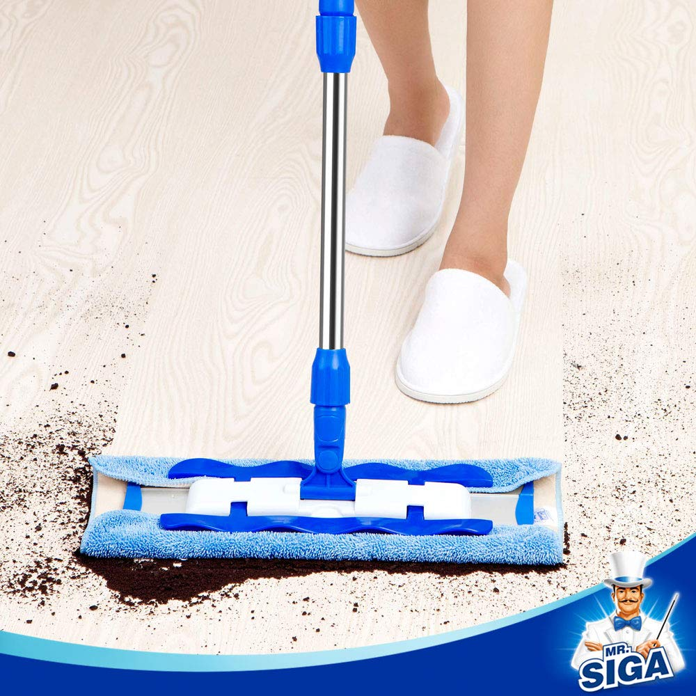 MR. SIGA Professional Microfiber Mop,Stainless Steel Handle - Pad Size: 42cm x23cm, 2 Free Microfiber Cloth Refills and 1 Dirt Removal Scrubber Included by MR.SIGA (Image #6)