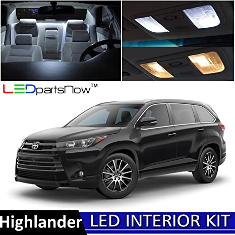 LEDpartsNow 2017 2018 Toyota Highlander LED Interior Lights Accessories  Replacement Package Kit (13 Pieces
