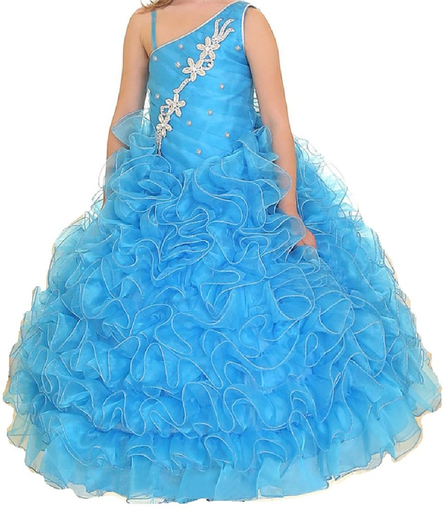 Little Girls One Shoulder Strap Pageant Gown Flowers Girls Dresses Turquoise 2
