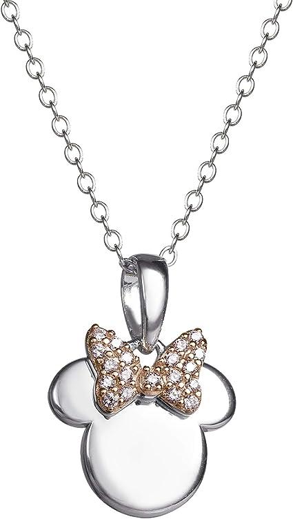 "18/"" Chain Minnie Mouse Cubic Zirconia Heart Pendant Necklace Disney"