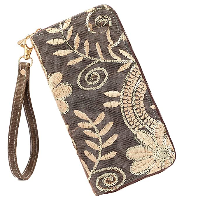 6fb3c5707d9d Laimi Duo Womens New Design Bohemian Floral Sequin Wallet Canvas Card  Holder Phone Purse Wristlet