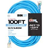 100 Ft All Weather Extension Cord - Stays Flexible in Extreme Cold & Hot Temperatures from -58°F to +221°F - 12/3 SJEOW…