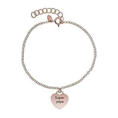 Córdoba Jewels | Pulsera en Plata de Ley 925 bañada en Oro Rosa. Diseño Super Yaya: Amazon.es: Joyería