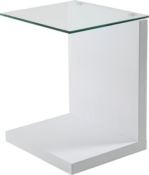 Mesa auxiliar en cristal y laca blanca alto brillo blanca, mesita ...