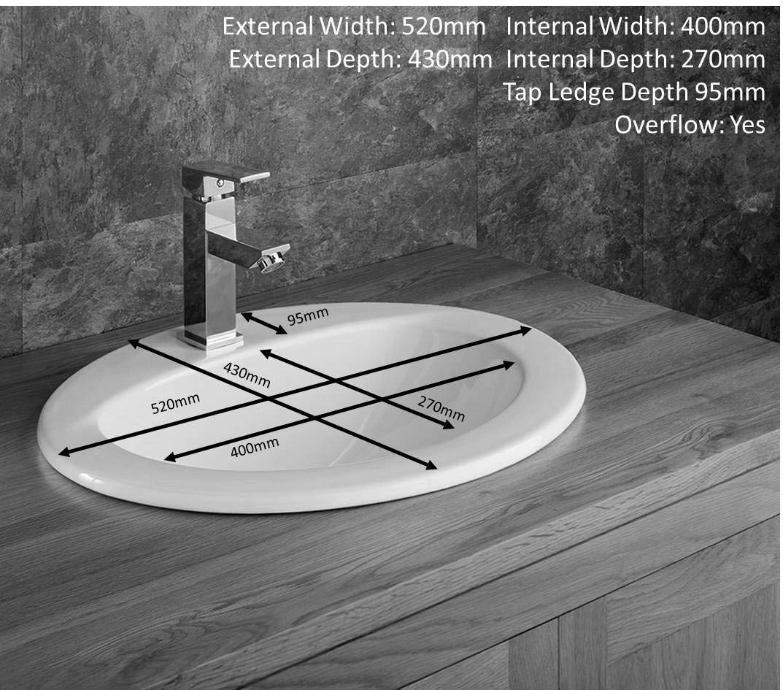 Clickbasin White Ceramic Self Rimming Oval Bathroom Basin 520mm x 430mm VIDA