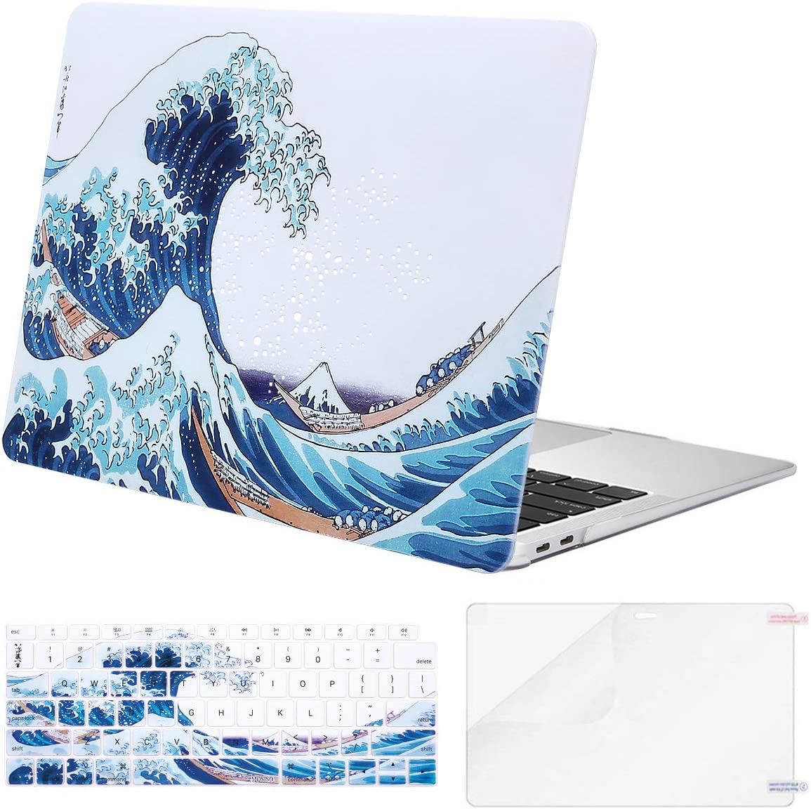 MOSISO MacBook Air 13 inch Case 2020 2019 2018 Release A2179 A1932 Retina Display, Plastic Pattern Hard Shell & Keyboard Cover & Screen Protector Only Compatible with MacBook Air 13, Great Sea Wave
