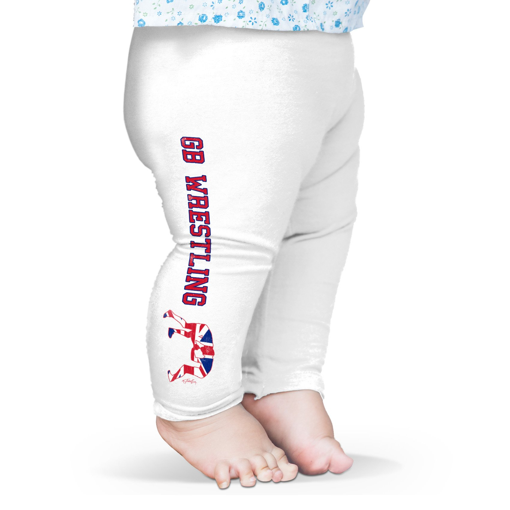 TWISTED ENVY Leggings For Women GB Wrestling Baby Leggings Pants 3-6 Months White by TWISTED ENVY