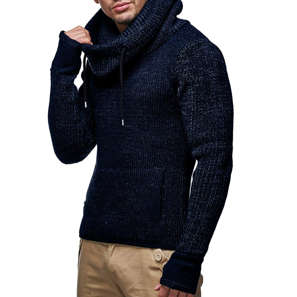 OMINA Mens Knit Sweater Turtleneck Hoodie Autumn Winter Warm Casual Slim Fit Sweashirt Pullover