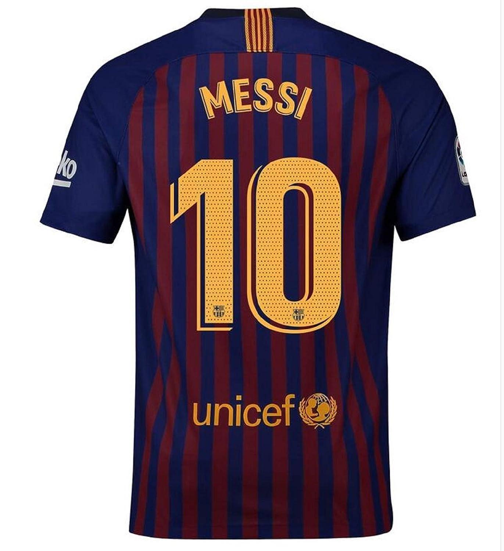 41891384eb9 Amazon.com  fregrdf Men s Barcelona Messi Home Jerseys 18-19 10 Football Jersey  Soccer Jersey Blue(S-XXL)  Clothing