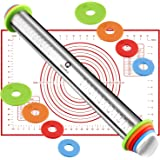 Rolling Pin, Dough Roller with AdjustableThickness Rings and Pastry Mat Set for Dough Pizza Pastry Pie Pasta and Cookies