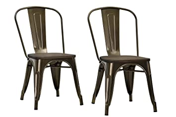 DHP Fusion Metal Dining Chair With Wood Seat Set Of Two Antique Bronze