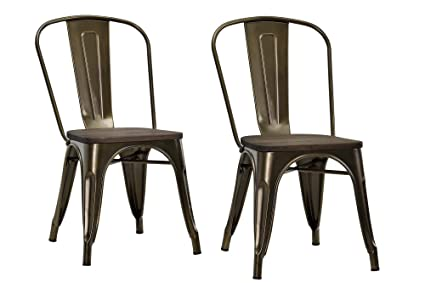 DHP Fusion Metal Dining Chair with Wood Seat, Set of Two, Antique Bronze - Amazon.com: DHP Fusion Metal Dining Chair With Wood Seat, Set Of Two