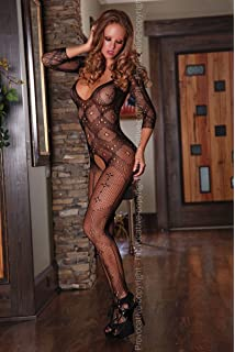 0682053d8d1 Provocative PR4164 Small Large Long Sleeves Open Crotch Bodystocking Low  Cut Front and Back