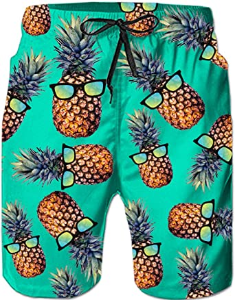 Mens Quick Dry Beach Shorts Hawaiian Swim Trunks Summer Board Shorts with Mesh Lining Swimwear Bathing Suits