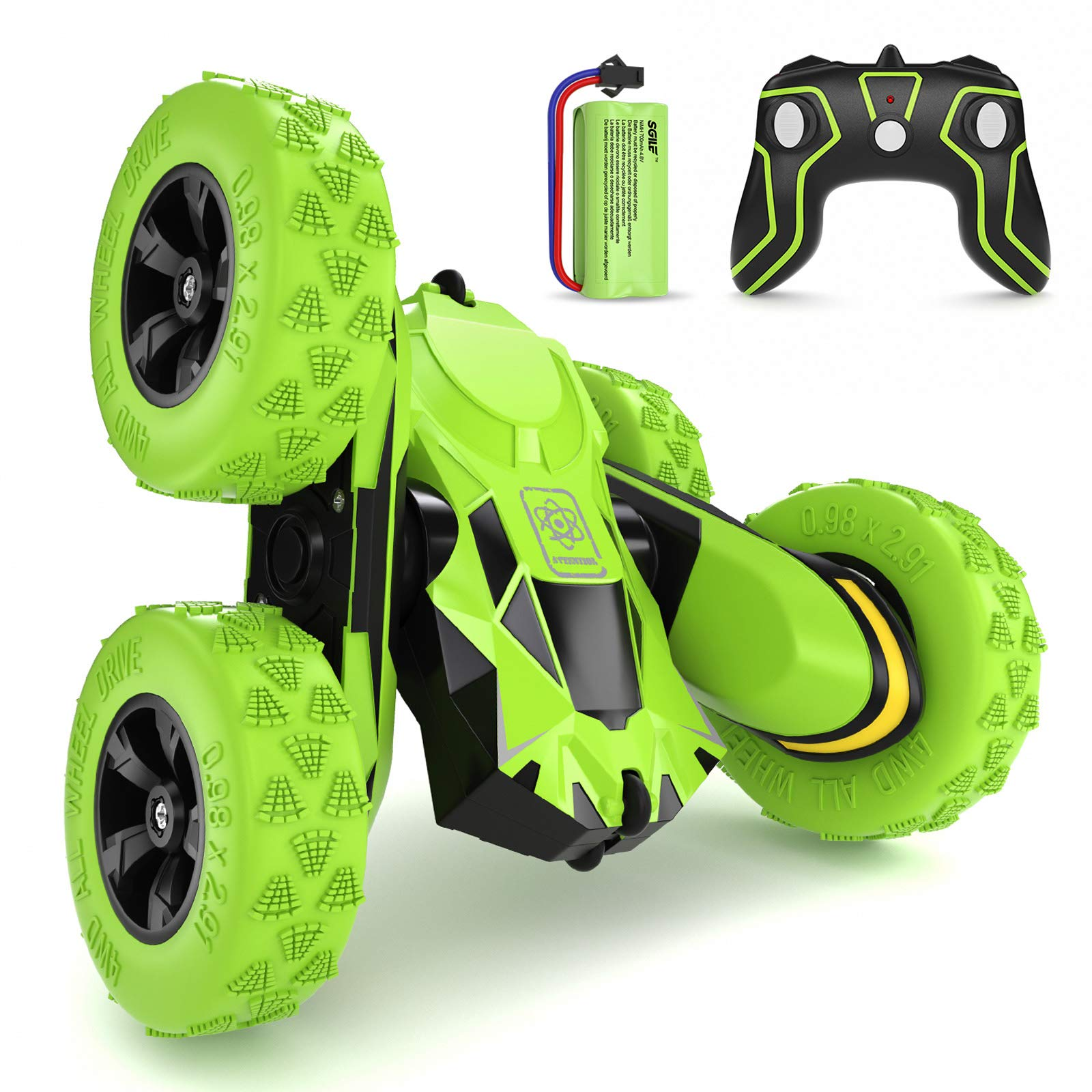 SGILE 4WD Remote Control Car for 6-12 Years Old Kids, 360° Double Side Flips RC Stunt Car Birthday Toy Gift, Green