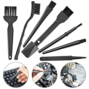 Small Portable Plastic Handle Nylon Anti Static Brushes Computer Keyboard Cleaning Brush Kit (Black, Set of 7)