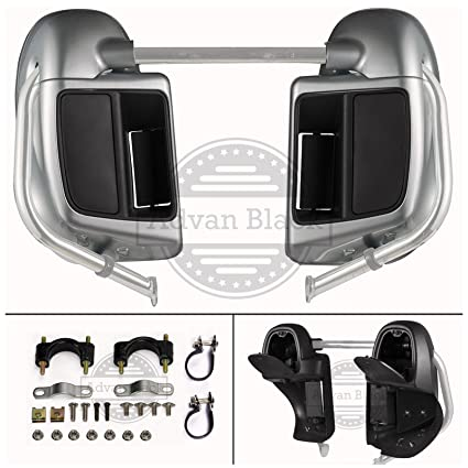 Brilliant Silver Rushmore Lower Vented Fairings Kit Glove Box for Harley Davidson Touring Street Glide Road