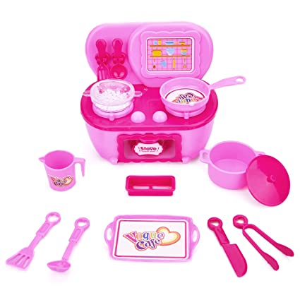 Amazon Com Fun Little Toys Pretend Play Kitchen Set For Toddlers