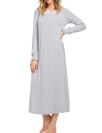 0d08b16c0499a5 ADOME Nachthemden Damen Baumwolle Langarm stillpyjama weich Herbst  Nachtkleid Länge Nachtwäsche, 6997_Grau - S