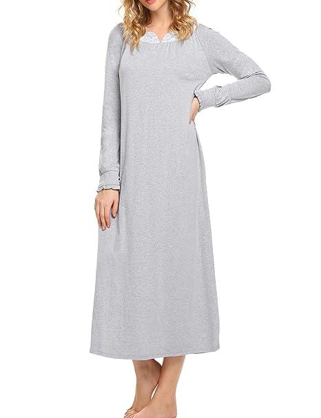 reputable site 79a53 c233e Nachthemd Damen Langarm Schlafkleid Einteiliger Schlafanzug Nachtkleid  Retro-Stil Kleid Warme Sleepshirt Pyjama aus Baumwolle für Frauen  Schwangere ...