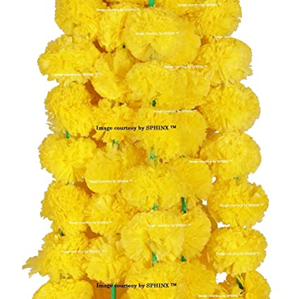 Buy sphinx artificial marigold fluffy flowers garlands for sphinx artificial marigold fluffy flowers garlands for decoration pack of 5 yellow mightylinksfo