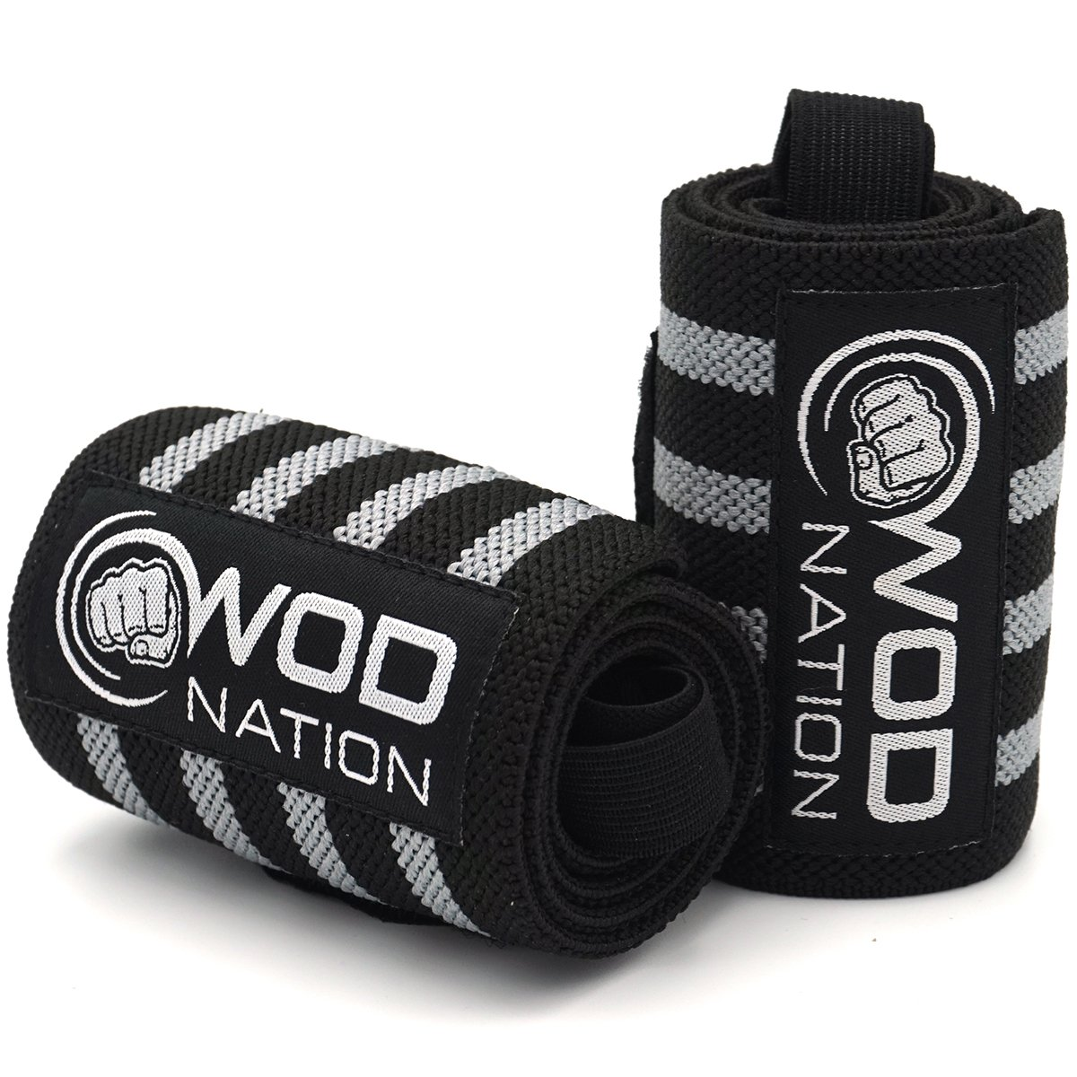 WOD Nation Wrist Wraps by Wrist Support Straps (12'', 18'' or 24'') - Fits Both Men & Women - Strength Training, Weightlifting, Powerlifting - Lift Heavier Weight (18 Inch - Black/Grey) by WOD Nation (Image #3)