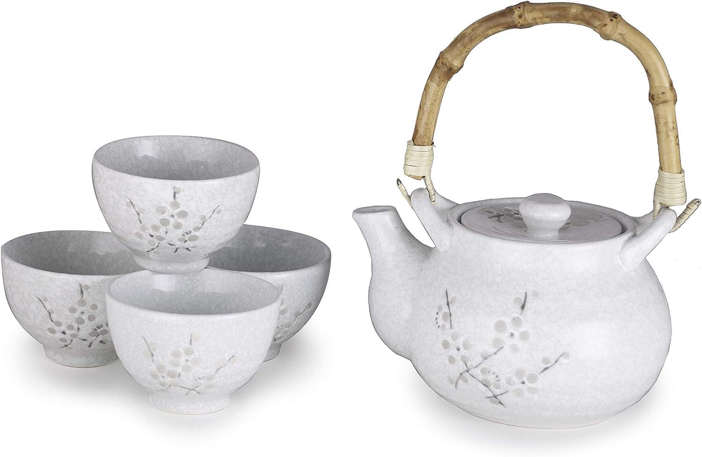 Hinomaru Collection Kagetsu Glazed Porcelain Japanese Sakura Cherry Blossom Tea Set 24 fl oz Teapot with Rattan Handle and Four Tea Cups Sage Green