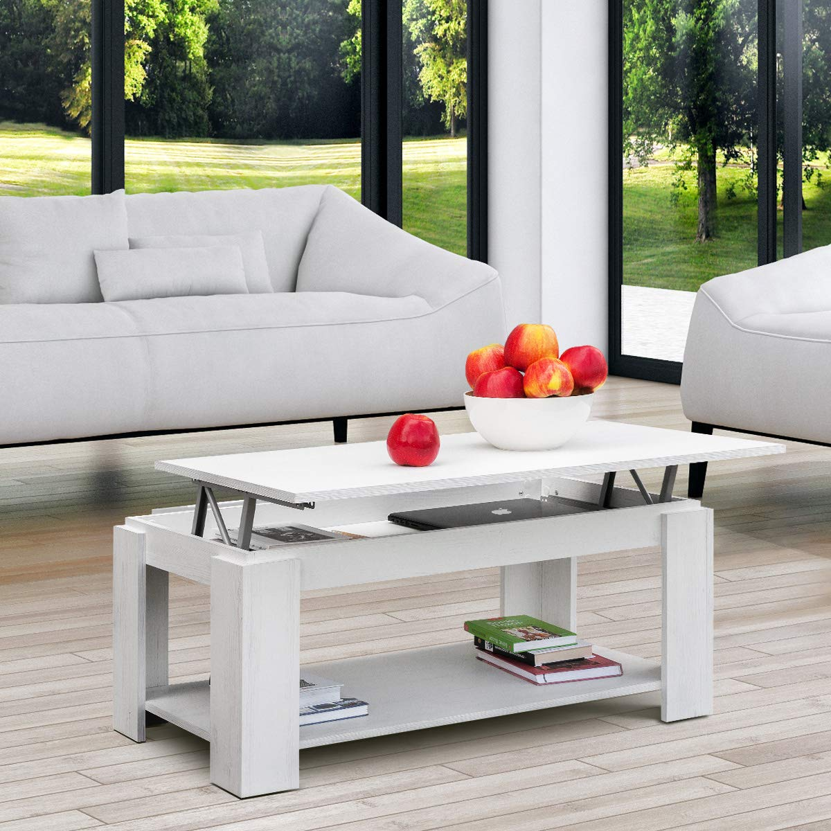 COMIFORT Mesa de Centro Elevable - Mueble Extensible con Revistero ...