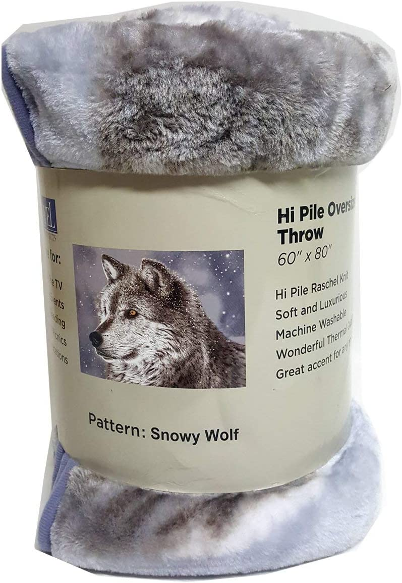 Shavel Home Products Luxury Hi Pile Oversized Throw, 60x80, Snowy Wolf