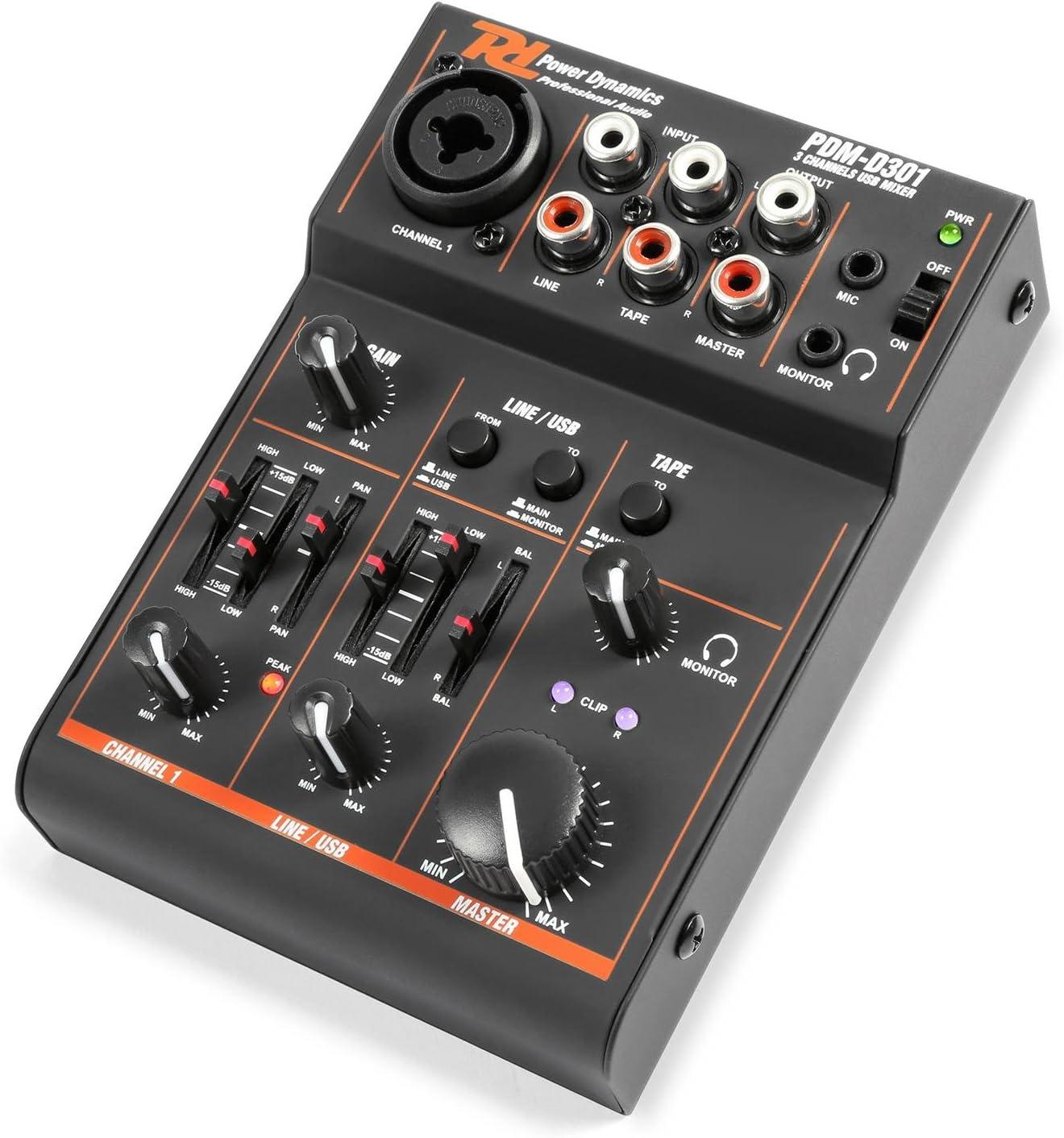 Power Dynamics PDM-D301BT mixer de 3 canales mesa de mezcla USB ...