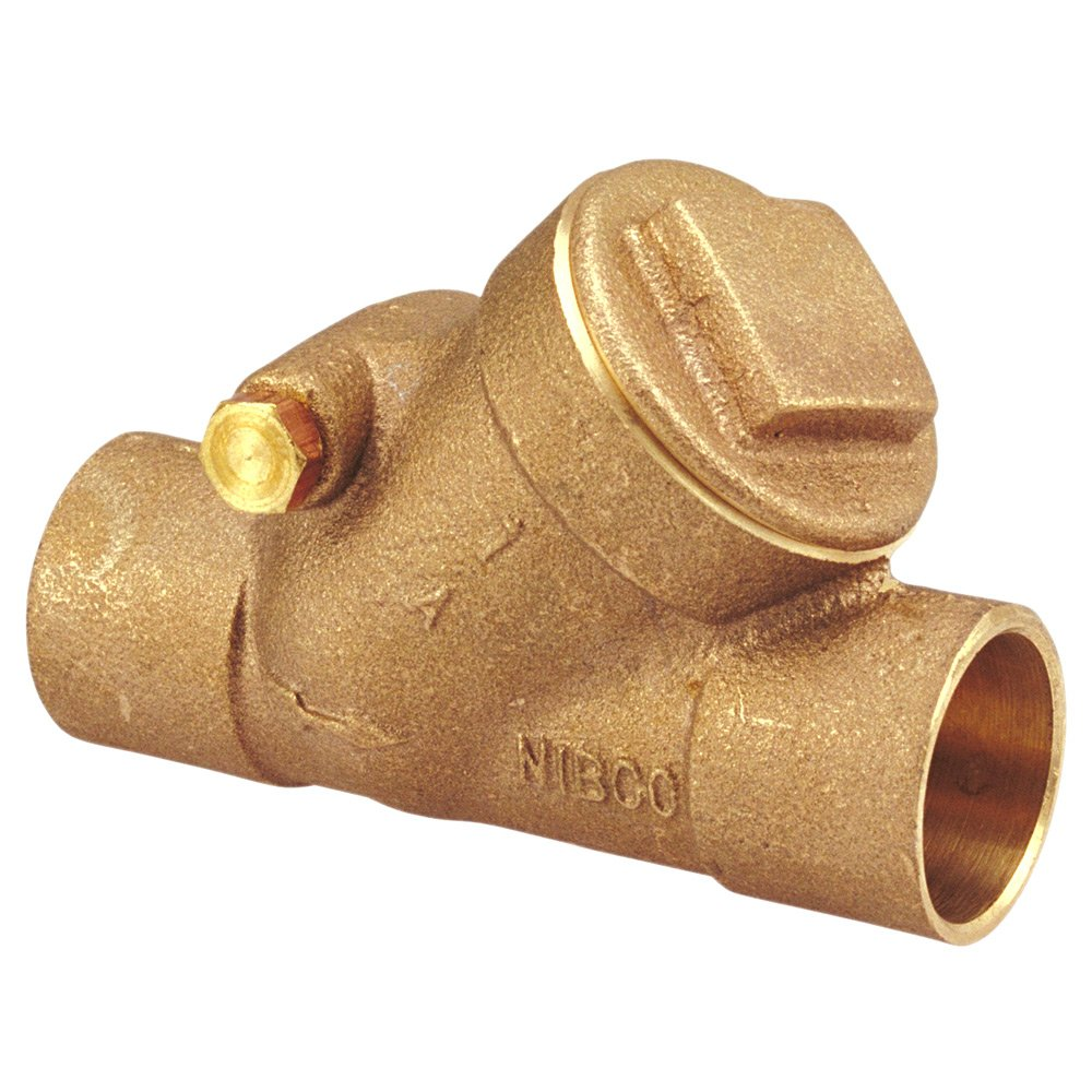 NIBCO S-413-Y Cast Bronze Check Valve, Silent Check, Class 125, PTFE Seat, 1/2'' Female Solder Cup